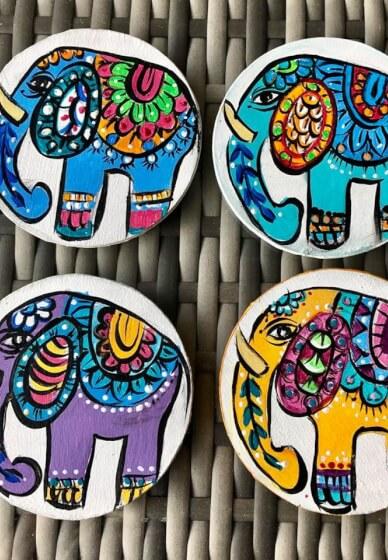 DIY Boho Elephant Coasters
