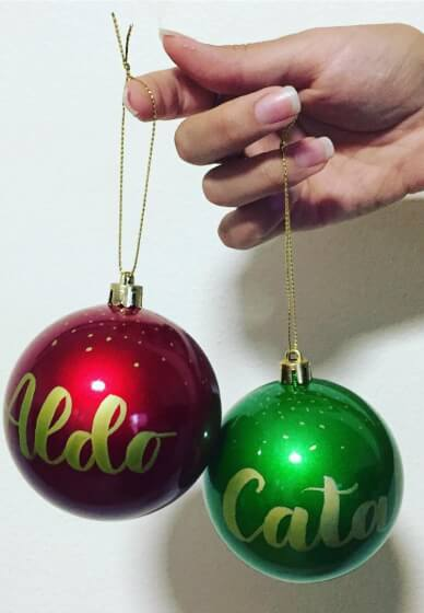 DIY Personalised Christmas Baubles with Lettering
