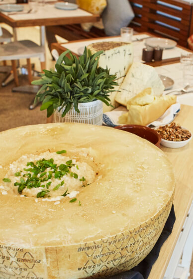 Flaming Cheese Wheel and Wine Experience