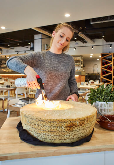 Flaming Cheese Wheel and Wine Pairing Experience