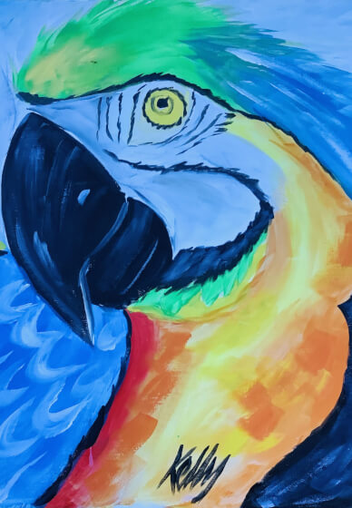 Paint and Sip Cass: Macaw