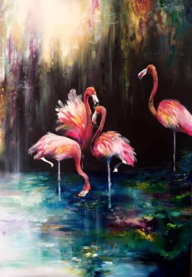 Paint and Sip Class - Flamingo Pond (Nov 15)