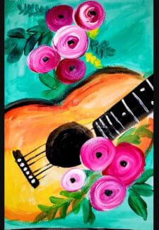 Paint and Sip Class - Guitar & Roses (Jan 25)
