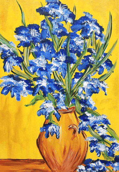 Paint and Sip Class: Vase with Irises by Van Gogh