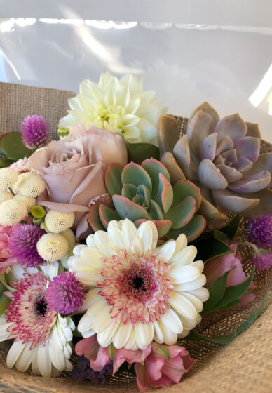 Succulent + Flower Bouquet Arrangement