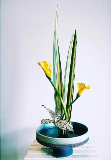 "Japanese Ikebana Vase 16/""L Black Rectangle Shape w// Line Ceramic //Made in Japan"